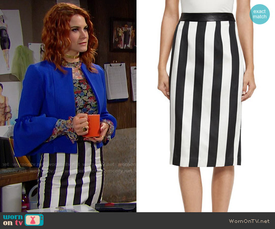 Kendall + Kylie Striped Leather-Trim Pencil Skirt worn by Courtney Hope on The Bold & the Beautiful