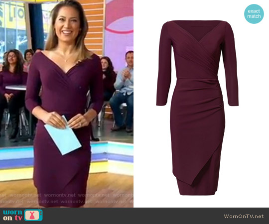 Merlot Calantine Sheath Dress by La Petite Robe di Chiara Boni worn by Ginger Zee  on Good Morning America