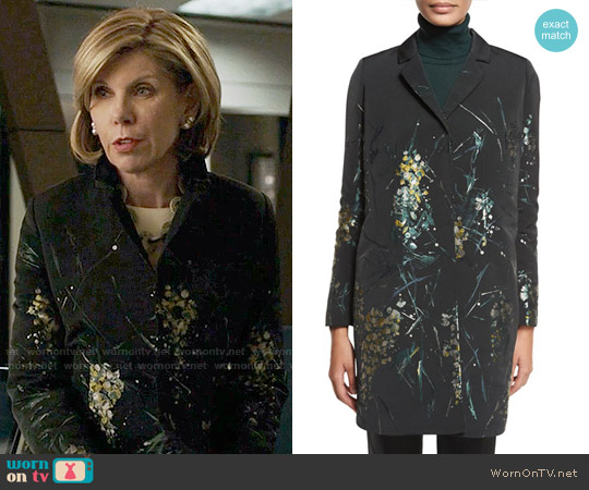 Lafayette 148 New York Genever Painterly Floral Topper Jacket worn by Diane Lockhart (Christine Baranski) on The Good Fight