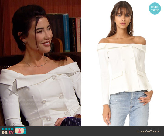 L'Agence Stephan Off Shoulder Top worn by Steffy Forrester (Jacqueline MacInnes Wood) on The Bold & the Beautiful