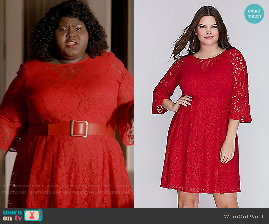 Lane Bryant Lace Fit & Flare Dress with Flounce Sleeves worn by Becky (Gabourey Sidibe) on Empire