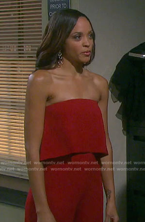 Lani's red strapless jumpsuit on Days of our Lives