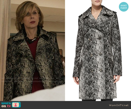 Lanvin Double-Breasted Snake-Print Trenchcoat worn by Diane Lockhart (Christine Baranski) on The Good Fight