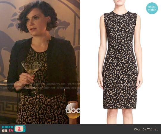 Lanvin Leopard Jacquard Sleeveless Sheath Dress worn by Regina Mills (Lana Parrilla) on OUAT