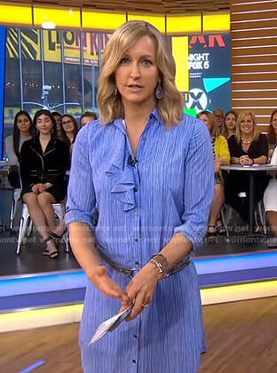 Lara's striped ruffle front shirtdress on Good Morning America