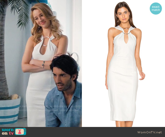 Lavish Alice Metal Ring Plunge Midi Dress worn by Yael Grobglas on Jane the Virgin