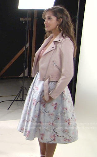 Lily's blush leather jacket and cherry blossom skirt on The Young and the Restless