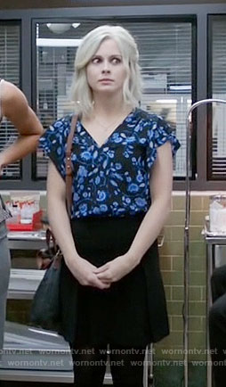 Liv's black and blue floral top on iZombie