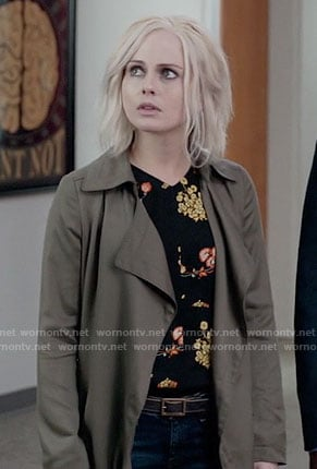 Liv's black and orange floral top and draped coat on iZombie