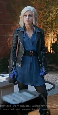 Liv's blue dress and denim and leather jacket on iZombie