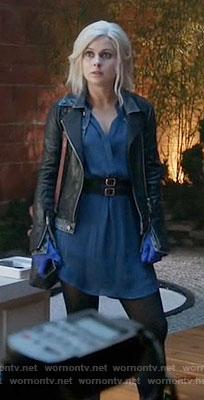 Liv's blue dress and denim and leather jacket on iZombie