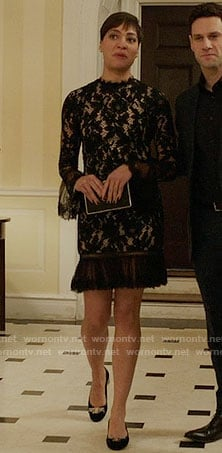 Luca's black ruffled lace dress on The Good Fight