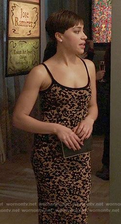 Luca's black lace body-con dress on The Good Fight