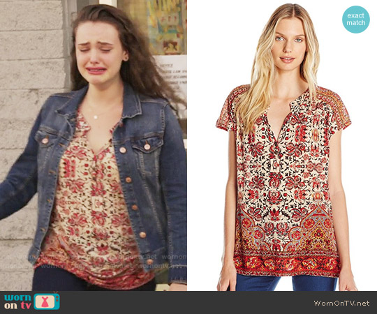 Lucky Brand Border Print Top worn by 	Katherine Langford on 13 Reasons Why