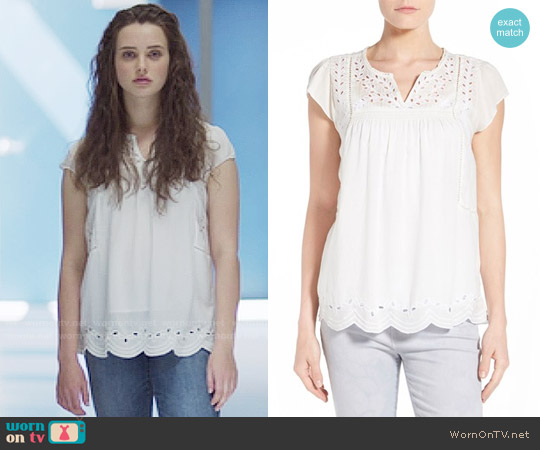 Lucky Brand Embroidered Eyelet Trim Top worn by Hannah Baker (	Katherine Langford) on 13 Reasons Why