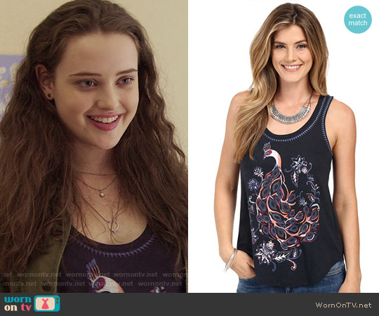 Lucky Brand Peacock Tank Top worn by Katherine Langford on 13 Reasons Why
