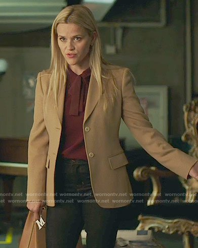 Madeline's burgundy tie-neck top and camel blazer on Big Little Lies