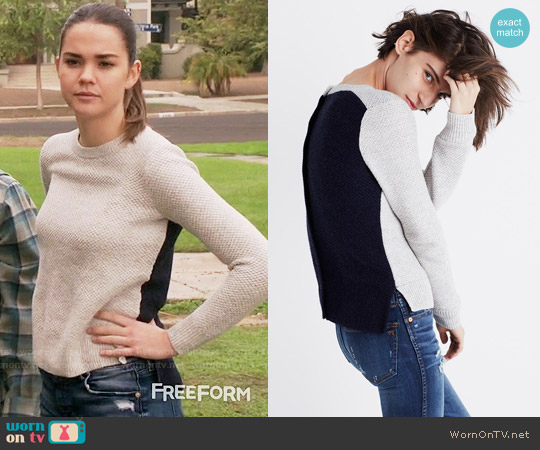Madewell Backroad Button-back Sweater in Colorblock worn by Maia Mitchell on The Fosters