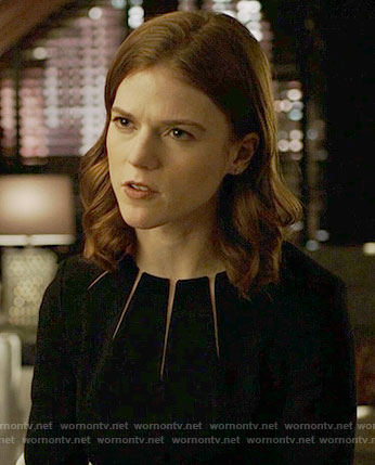 Maia's black dress with neckline slits on The Good Fight