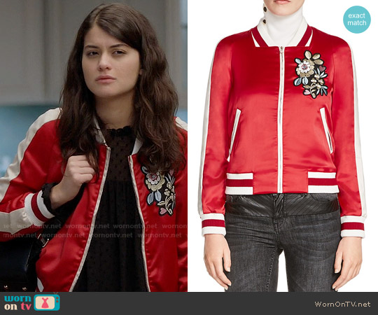 Maje Bob Embroidered Satin Bomber Jacket worn by Sofia Black D'Elia on The Mick