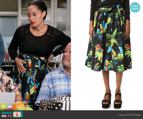 Marc Jacobs Parrot Belted Full Skirt worn by Rainbow Johnson (Tracee Ellis Ross) on Blackish