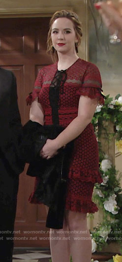 Mariah's red lace ruffled dress at Chloe's wedding on The Young and the Restless