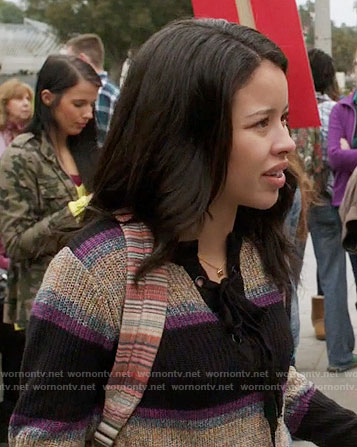 Mariana's striped lace-up sweater on The Fosters