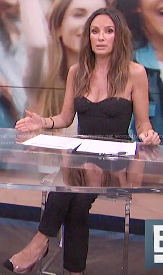 Catt's black strapless jumpsuit on E! News