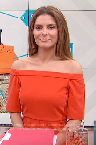 Maria's red off-shoulder dress on E! News