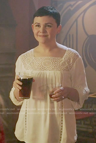 Mary's white crochet panel top on Once Upon a Time
