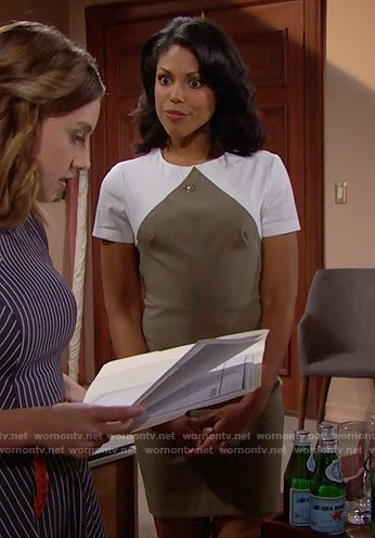 Maya's olive and white colorblock dress on The Bold and the Beautiful