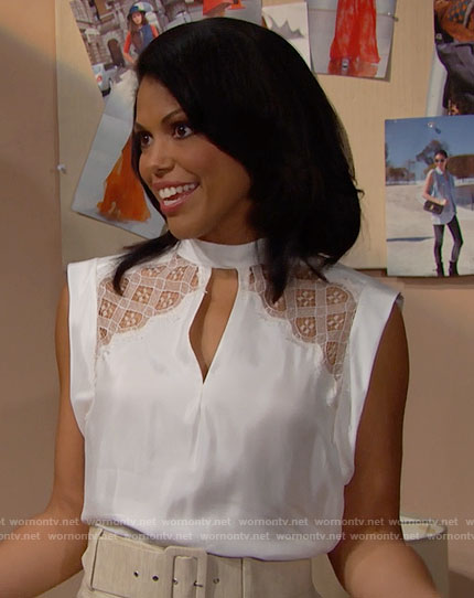 Maya's white lace panel top on The Bold and the Beautiful