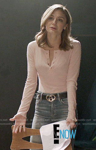 Megan's pink henley top and Gucci heart belt on The Arrangement
