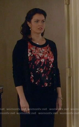 Mellie's black and red floral top on Scandal