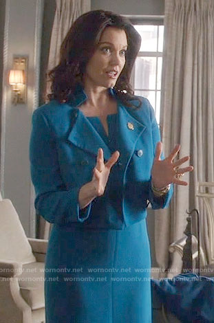 Mellie's blue dress and cropped jacket on Scandal