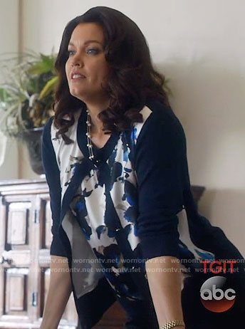 Mellie's blue floral top and cardigan on Scandal