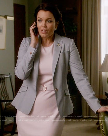Mellie's pink belted dress and grey blazer on Scandal