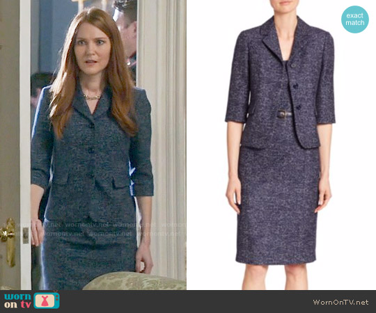 Michael Kors Collection Twill Jacquard Dress and Jacket worn by Abby Whelan (Darby Stanchfield) on Scandal