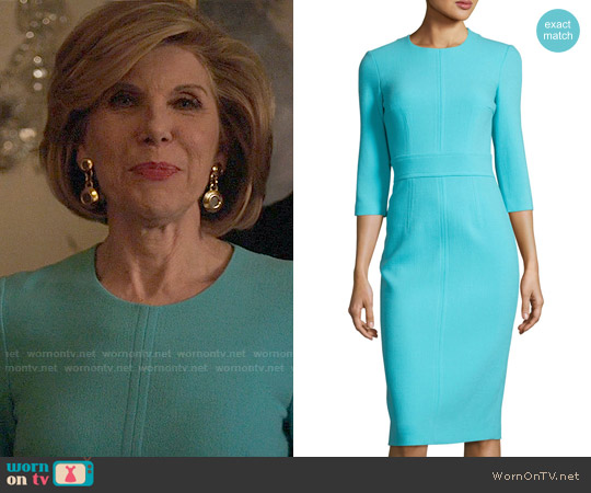 Michael Kors Collection Spring Dress in Turquoise worn by Diane Lockhart (Christine Baranski) on The Good Fight