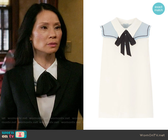 Miu Miu Pussy-bow chiffon-paneled silk crepe de chine top worn by Lucy Liu on Elementary