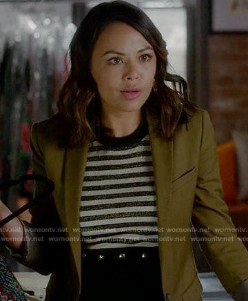 Mona's striped dress with studded waist on Pretty Little Liars