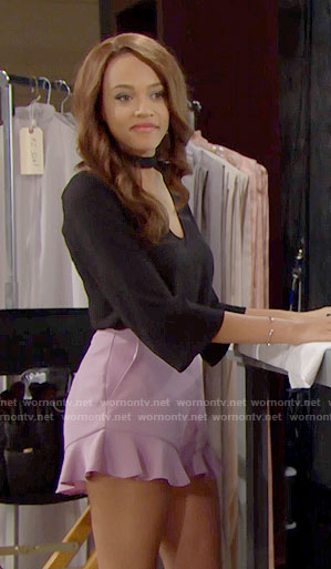 Nicole's pink ruffled shorts and black choker blouse on The Bold and the Beautiful