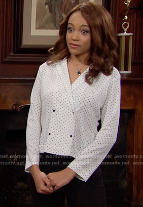 Nicole's white printed double-breasted blouse on The Bold and the Beautiful