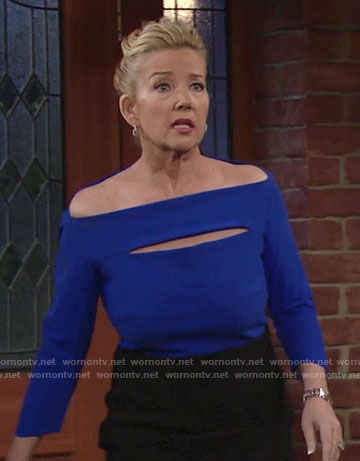 Nikki's blue off-shoulder dress with cutout on The Young and the Restless