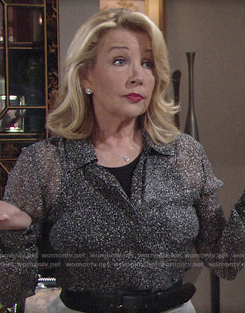 Nikki's black speckled print blouse on The Young and the Restless