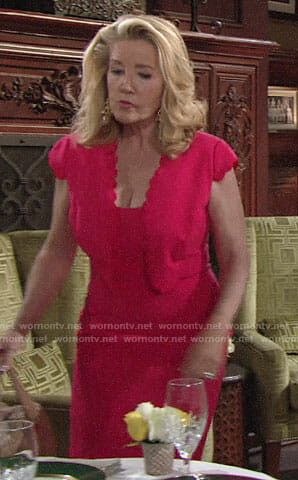 Nikki's coral scalloped trim dress on The Young and the Restless