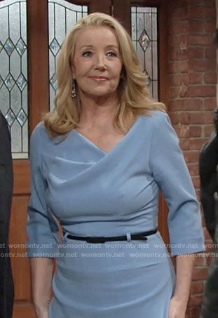 Nikki's blue cowl neck dress on The Young and the Restless