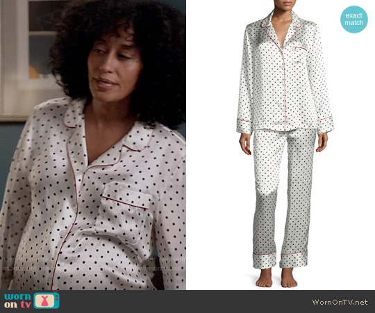 NM Intimates Polka Dot-Print Silk Pajama Set worn by Tracee Ellis Ross on Blackish