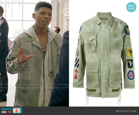 Off White Patch Embellished Field Jacket worn by Bryshere Y. Gray on Empire
