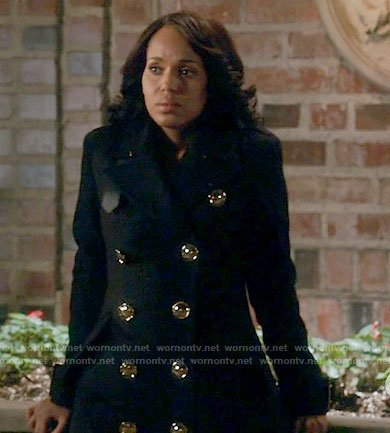 Olivia's black coat with gold buttons on Scandal